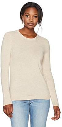 Lark & Ro Women's 100% Cashmere 12-Gauge Crewneck Pullover Sweater