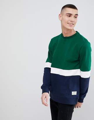 Pull&Bear Colour Block Sweatshirt In Green
