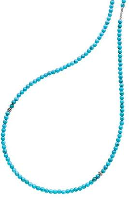 """Lagos Sterling Silver Caviar Icon Turquoise Five Station Strand Necklace, 34"""""""