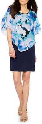 Byer California Short Sleeve Floral Shift Dress-Petite