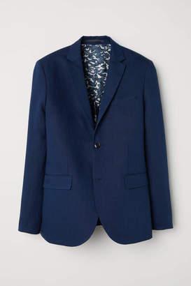 H&M Slim Fit Linen-blend Blazer - Dark blue melange - Men