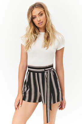 Forever 21 Multicolor Striped Self-Tie Paperbag Shorts
