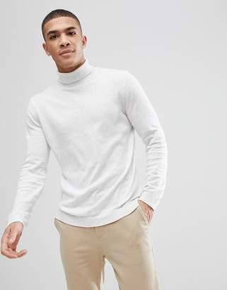 Asos Design DESIGN cotton roll neck jumper in pale grey