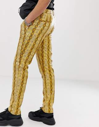 Asos Design DESIGN slim pants in snake print vinyl