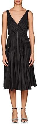 Prada Women's Pleated Tech-Taffeta A-Line Dress
