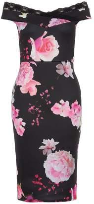 Quiz Black And Pink Floral Print Lace Trim Dress