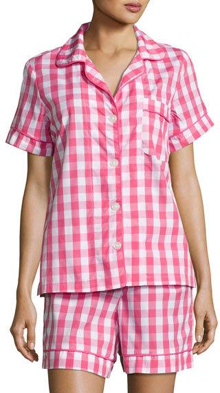 BedHeadBedhead Gingham Shorty Pajama Set, Hot Pink