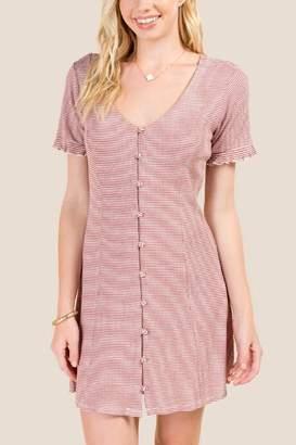 francesca's Kaelyn Button Down Knit Dress - Cinnamon