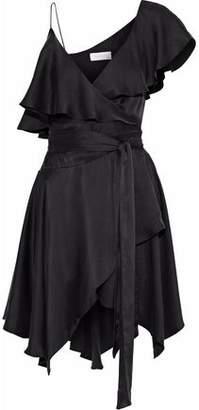 Zimmermann Asymmetric Ruffled Washed-Silk Mini Wrap Dress