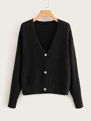 Shein Solid V-neck Button Front Cardigan