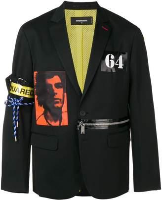 DSQUARED2 zip detail printed blazer