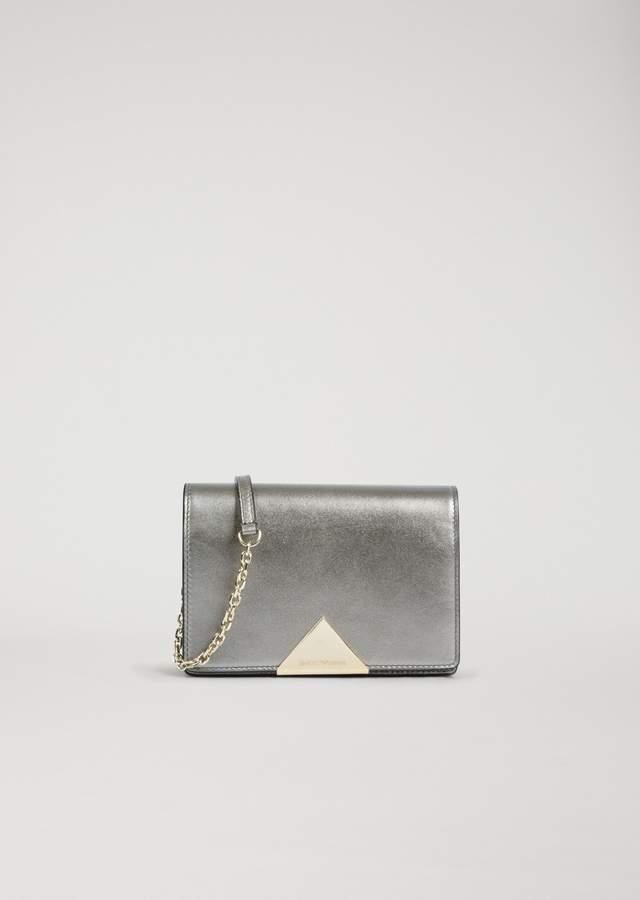 EMPORIO ARMANI laminated leather cross-body bag