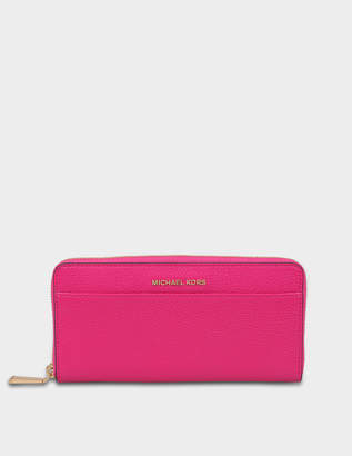 MICHAEL Michael Kors Mercer Zip Around Continental Wallet in Ultra Pink Pebbled Leather