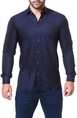 Maceoo Fibonacci Paisley Trim Fit Sport Shirt