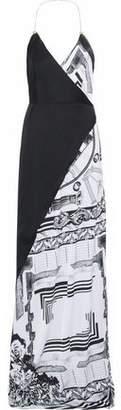 Versace Printed Satin Maxi Wrap Dress