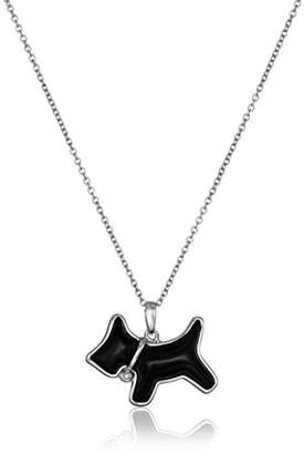 Sterling Silver Onyx and Diamond Dog Pendant Necklace