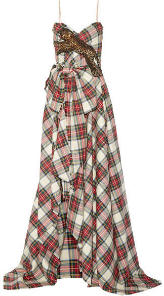 Gucci - Embellished Plaid Wool Gown - Red