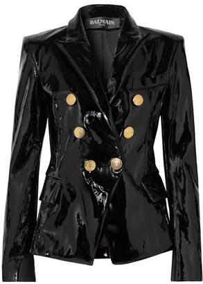 Balmain Double-breasted Patent-leather Blazer - Black
