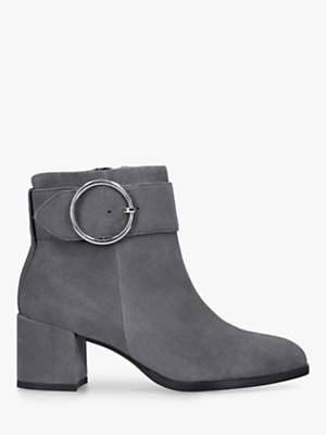 Carvela Snore Block Heel Ankle Boots, Grey Suede