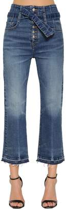 Veronica Beard Belted High Waist Cropped Denim Jeans