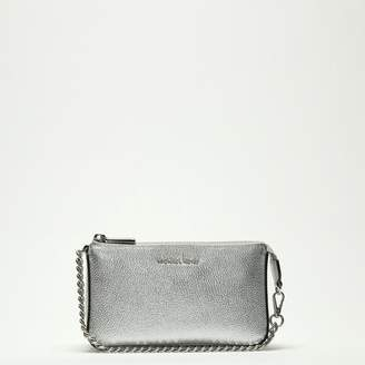 Michael Kors Mid Chain Silver Tumbled Leather Pouchette