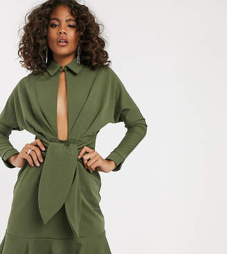 Asos Tall DESIGN Tall drop waist mini shirt dress