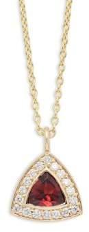 KC Designs Diamond, Garnet & 14K Yellow Gold Necklace