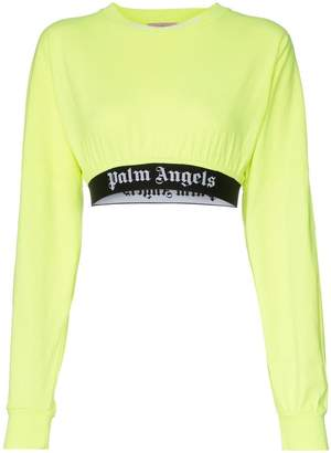 Palm Angels logo band long-sleeved cropped cotton T-shirt