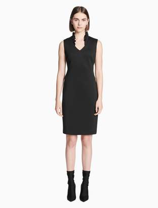 Calvin Klein ruffle v-neck sleeveless sheath dress