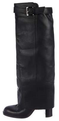 Chanel Leather Over-The-Knee Boots Black Leather Over-The-Knee Boots