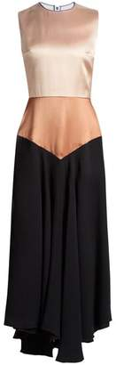 Roksanda Camillo Sleeveless Satin And Georgette Dress - Womens - Black Multi
