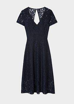 Paul Smith Women's Navy V-Neck Lace Dress