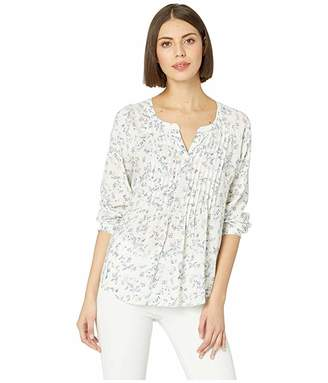Vince Camuto Long Sleeve Tranquil Ditsy Split-Neck Pintuck Blouse