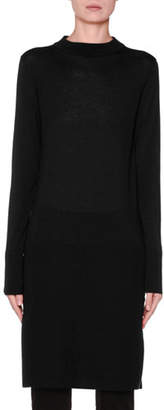 Agnona Long-Sleeve Banded High-Low Tunic, Black