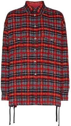 Faith Connexion lace-up detail plaid shirt