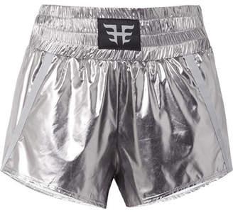 Heroine Sport Appliquéd Grosgrain-trimmed Metallic Shell Shorts