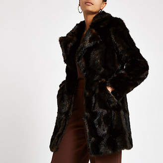 River Island Dark brown faux fur swing coat