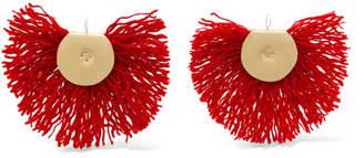 Katerina Makriyianni - Fan Fringed Gold-tone Earrings - Red