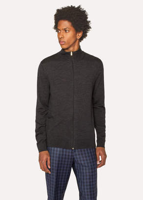 Paul Smith Men's Charcoal Grey Funnel Neck Merino Wool Zip Cardigan