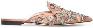 Alberta Ferretti 10mm Mia Crystal Embellished Satin Mules