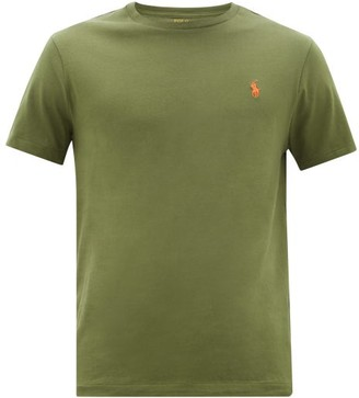 Polo Ralph Lauren Logo Embroidered Cotton T Shirt - Mens - Khaki
