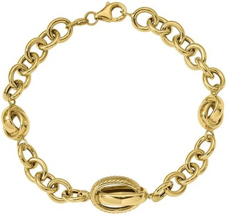 Italian Gold Bold Cable & Crossover Link Bracelet, 7.5g