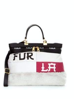 Furla Polar Faux Fur-Trimmed Tote Bag