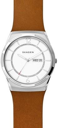 Skagen Melbye Leather Strap Watch, 40Mm $155 thestylecure.com
