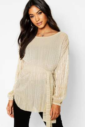 boohoo Metallic Plisse Oversized Long Sleeve Top