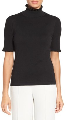 Women's Cece Short Sleeve Ruffle Trim Turtleneck $79 thestylecure.com