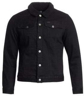 G Star Slim-Fit Faux Shearling Collar Denim Jacket