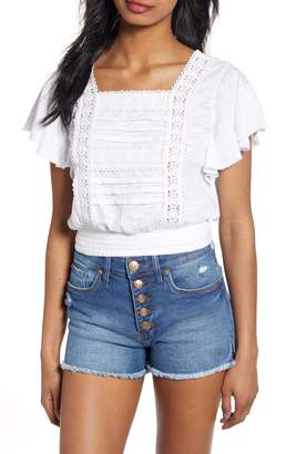 BP Lace Trim Ruffle Sleeve Crop Top