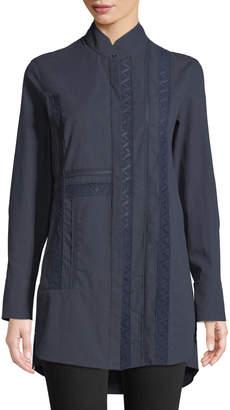 Akris Punto Lace Embroidered Button-Down Blouse