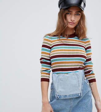 Asos DESIGN Petite 70s striped ribbed sweater in fine knit